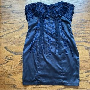 Bebe navy strapless satin dress with ribbon detail
